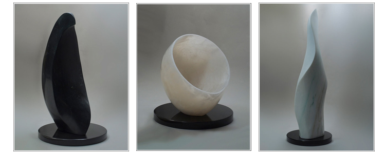 Fine art works in marble, alabaster, limestone, talc, and other stones.